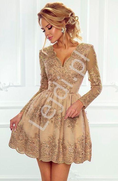 Koronkowa sukienka wieczorowa z długim rękawem, karmelowa - Amelia - Lejdi