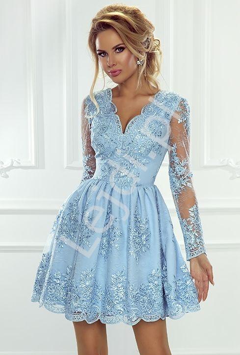 Koronkowa sukienka wieczorowa z długim rękawem, sukienka błękitna Amelia - Lejdi