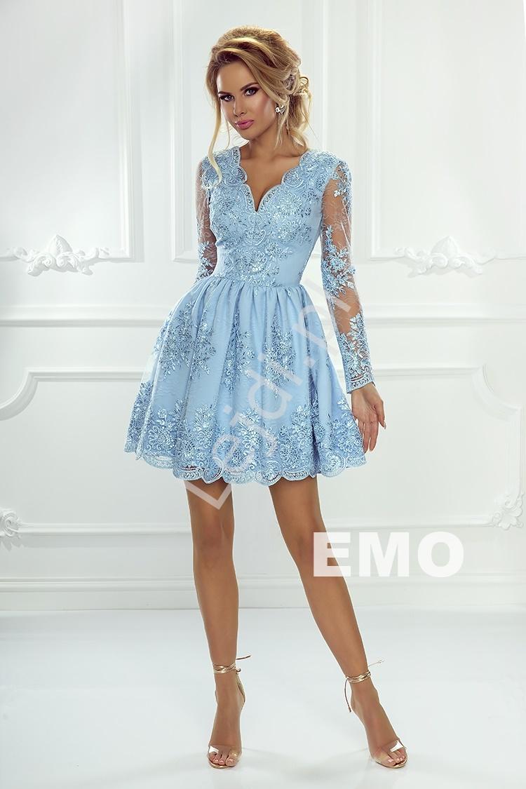 ede46ce36b Koronkowa sukienka wieczorowa z długim rękawem