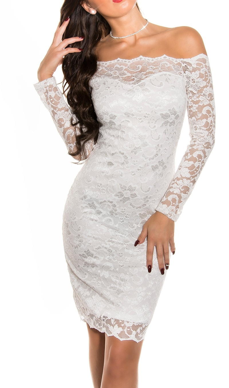Koronkowa sukienka z dekoltem Carmen, biała 351 -3 - Lejdi
