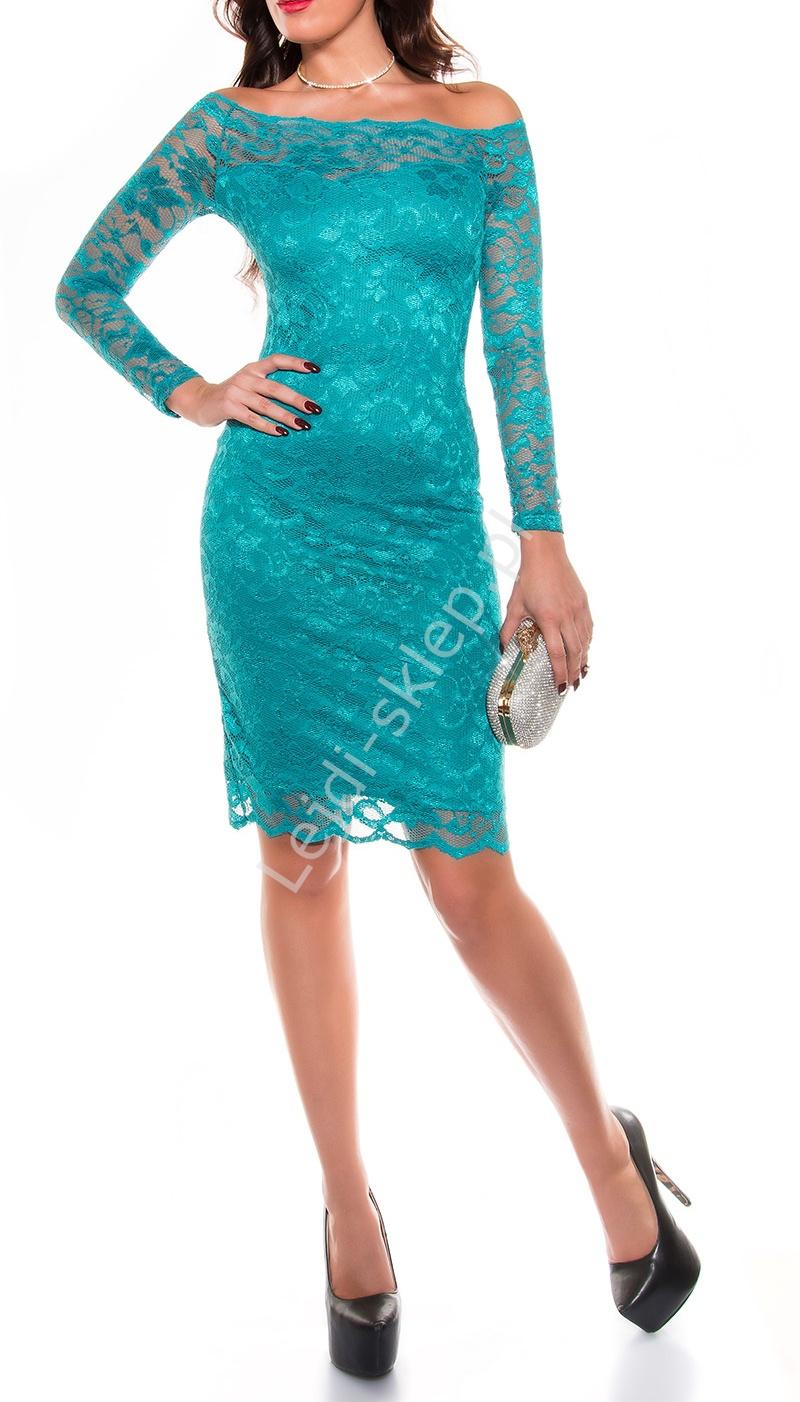 Koronkowa sukienka z dekoltem Carmen, szmaragdowa 351 -4 - Lejdi