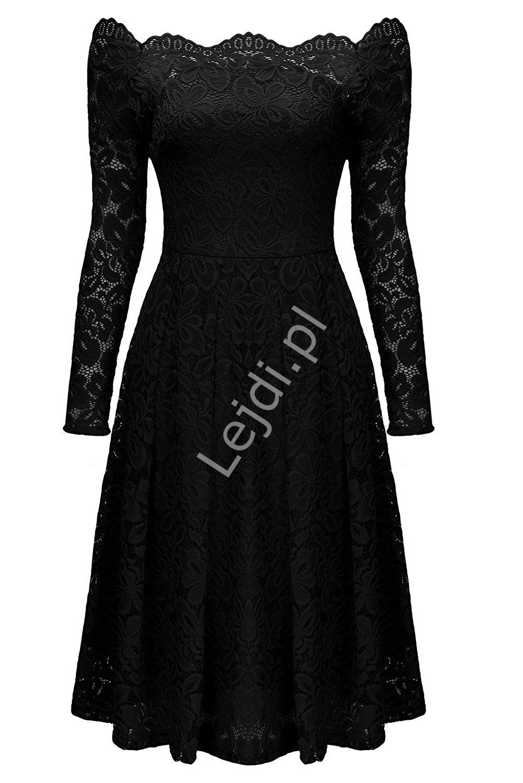 Koronkowa sukienka z dekoltem typu carmen, czarna 427 -4 - Lejdi