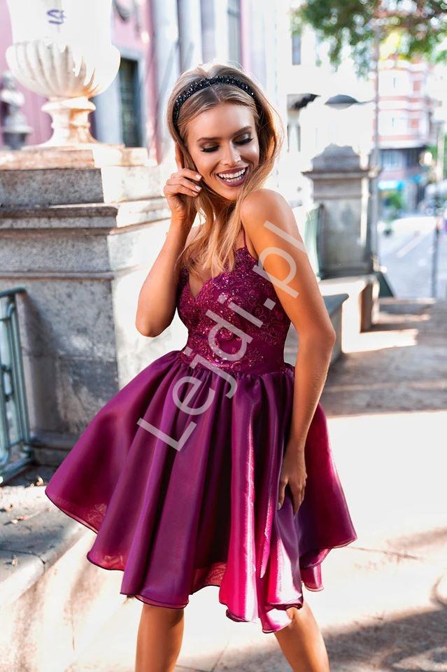 Koronkowa sukienka z organzową spódnicą EMO Francesca, bordo - Lejdi