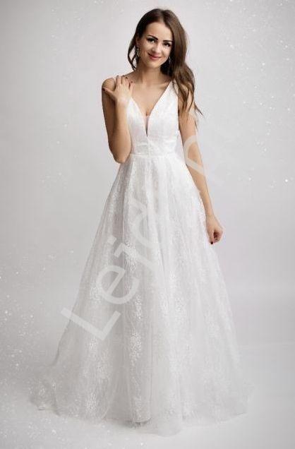 Koronkowa suknia ślubna z trenem 2181 - Lejdi