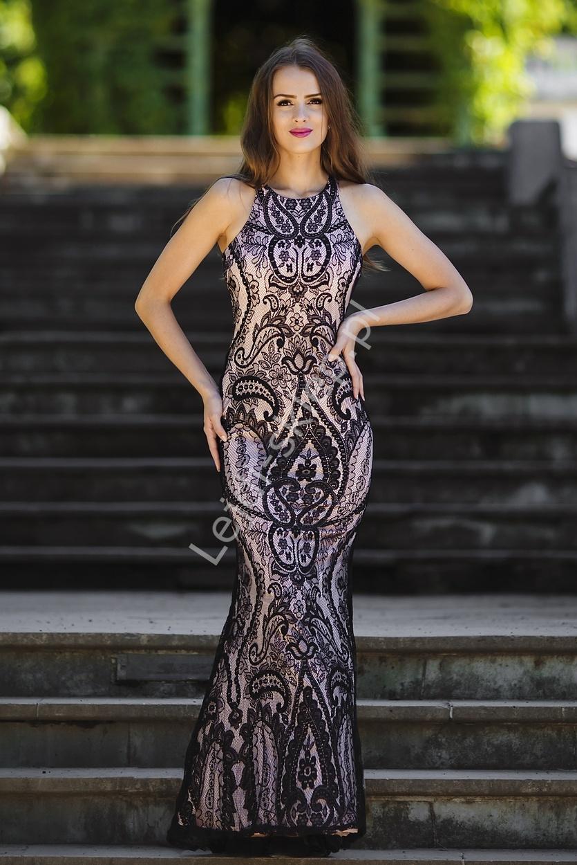 Koronkowa suknia wieczorowa , czarny + pudrowo różowa podszewka - Lejdi