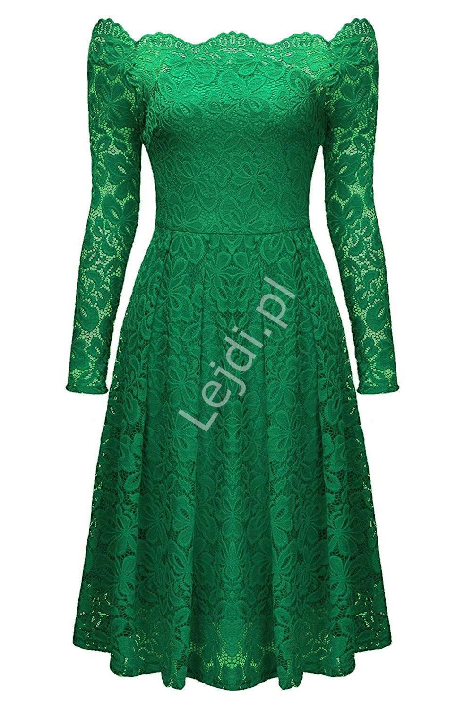 Koronkowa zielona sukienka z dekoltem typu carmen 427 -2 - Lejdi