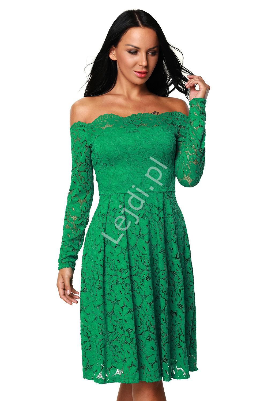 dc685ae54a47a9 Koronkowa zielona sukienka z dekoltem typu carmen 427 -2 - Lejdi.pl