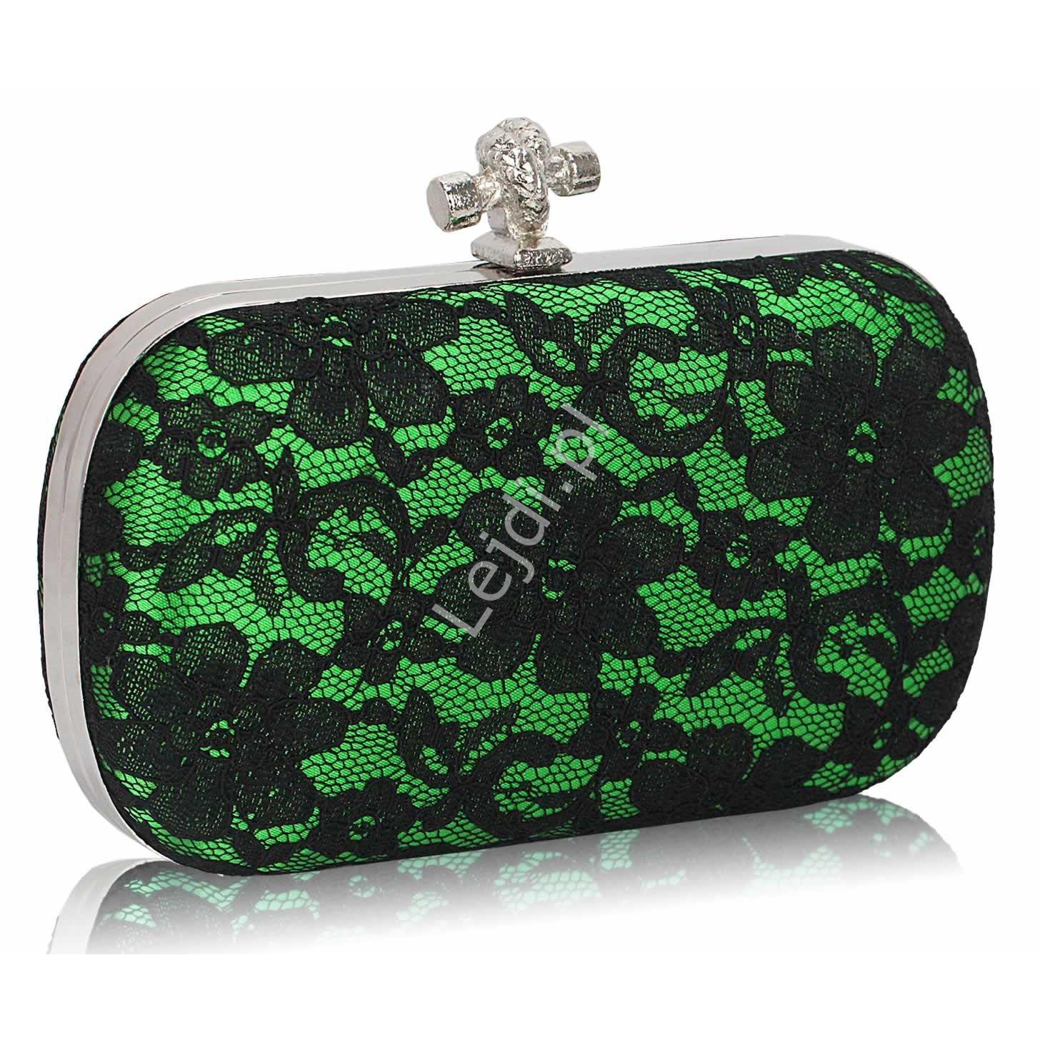 Koronkowa zielona torebka z węzełkiem | czarna koronka, torebka wieczorowa