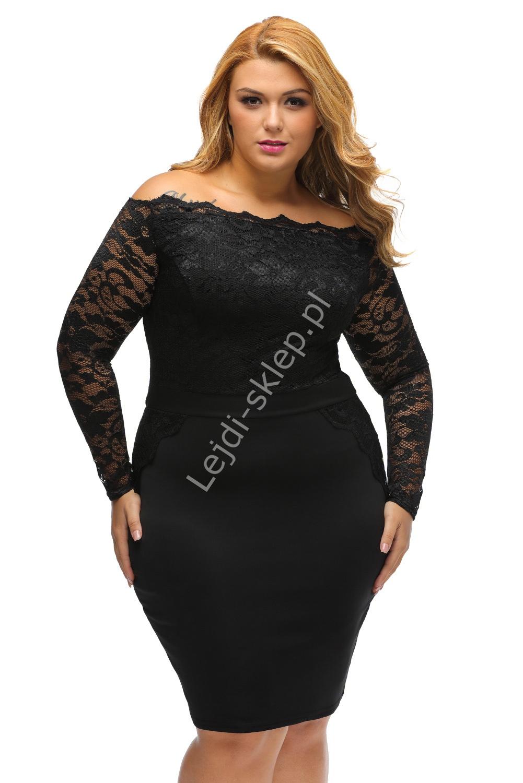 Koronkowo dzianinowa czarna sukienka Plus Size z dekoltem typu carmen 901 - Lejdi