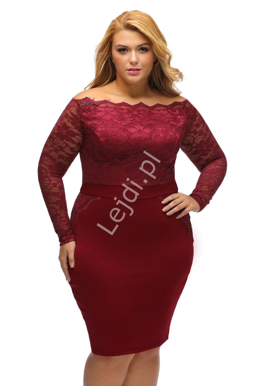 Koronkowo dzianinowa sukienka w kolorze ciemnego wina, Plus Size z dekoltem typu carmen 901 - Lejdi