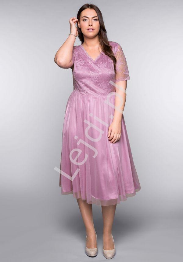 Koronkowo tiulowa sukienka Plus Size na wesele, komunie, chrzest - Lejdi