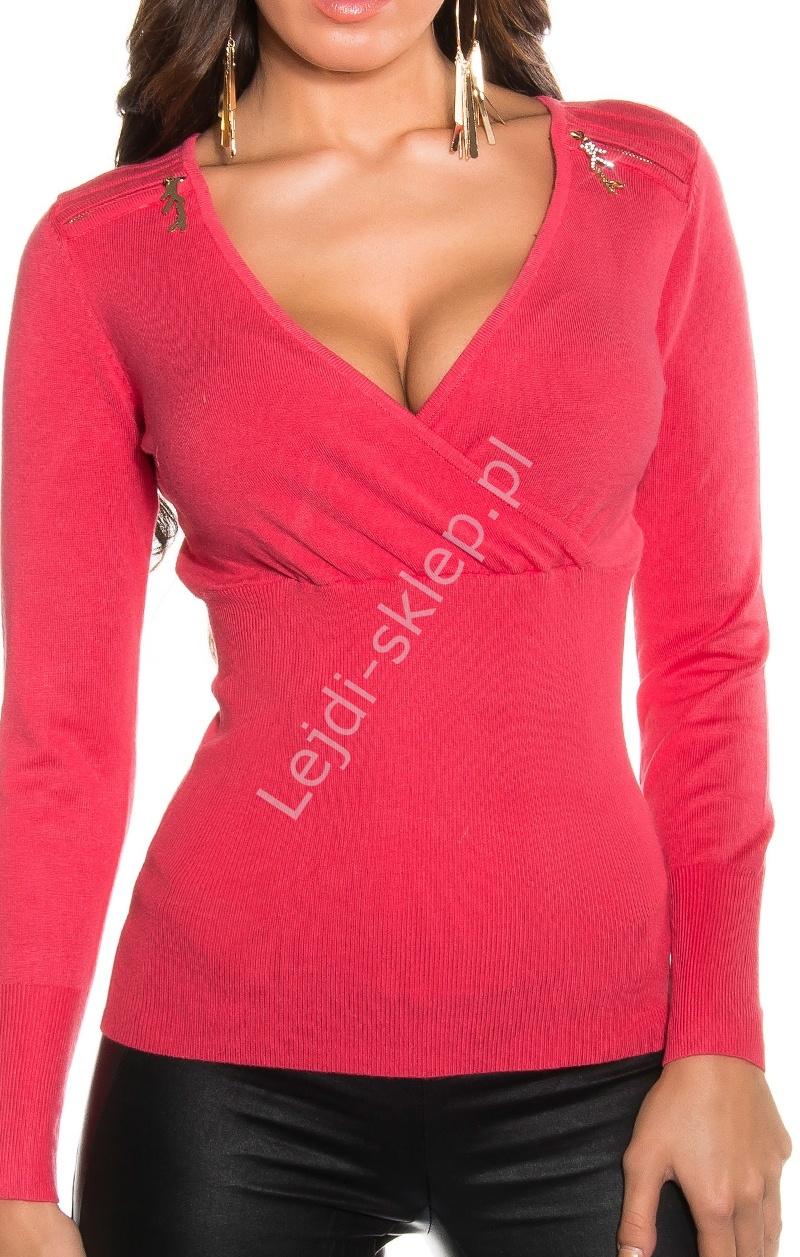 Korpertowy sweter | koralowy sweter z kopertowym dekoltem , 074 - Lejdi