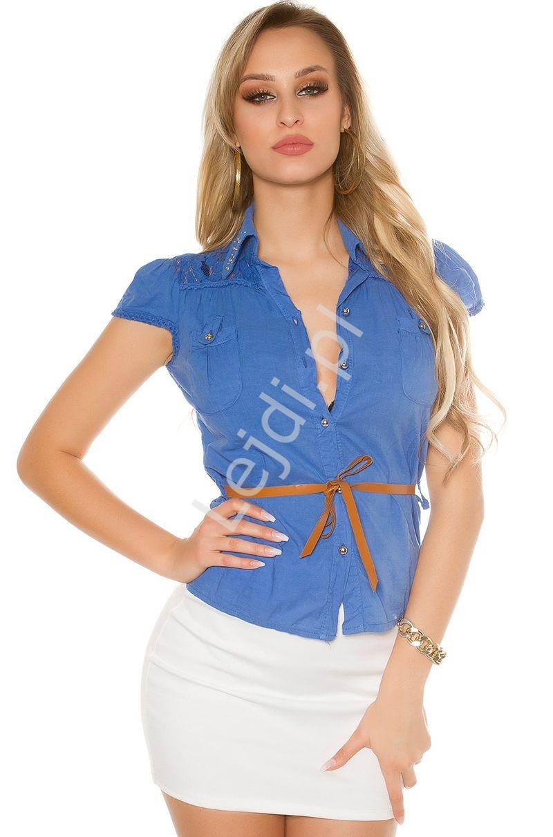 Koszula bawełniana chabrowa z koronką i jetami   elegancka bluzka koszulowa - Lejdi