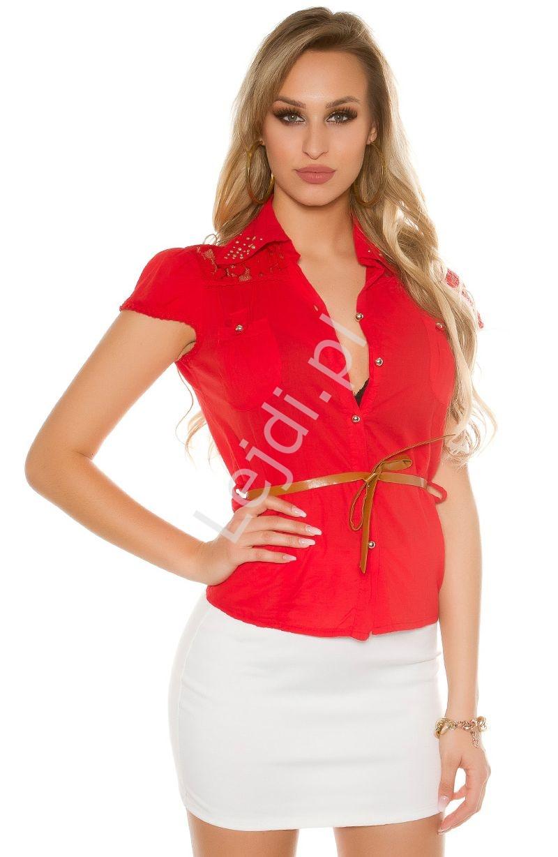 Koszula bawełniana z koronką i jetami | elegancka bluzka koszulowa - Lejdi