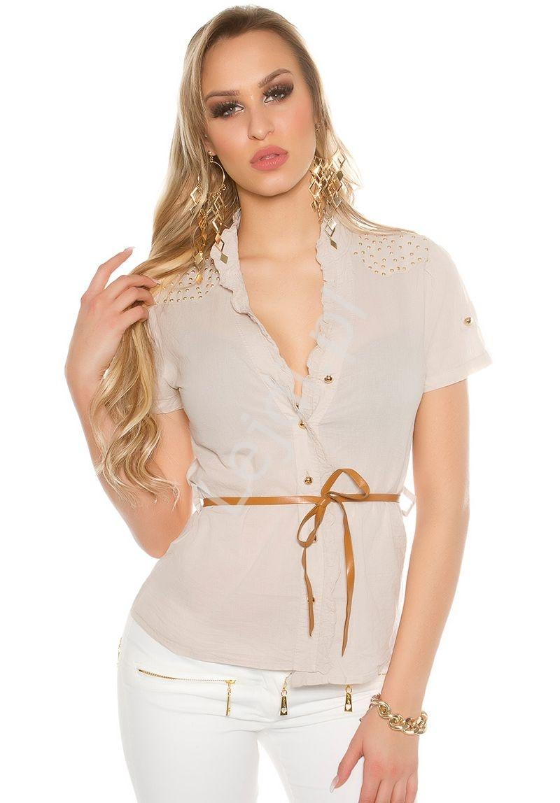 Koszula bawełniana, zdobiona jetami z paseczkiem | beżowa bluzka koszulowa 6099 - Lejdi