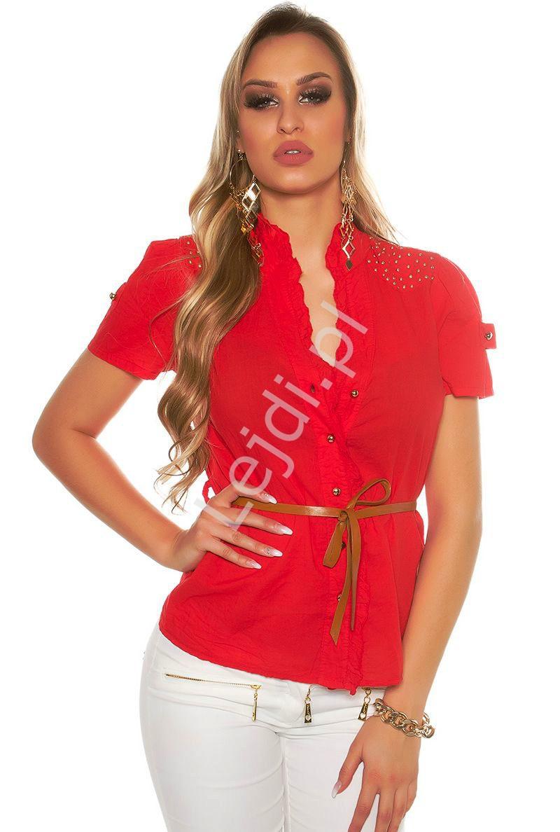 Koszula z krótkim rękawkiem, zdobiona jetami | bawełniana czerwona bluzka koszulowa 6099 - Lejdi