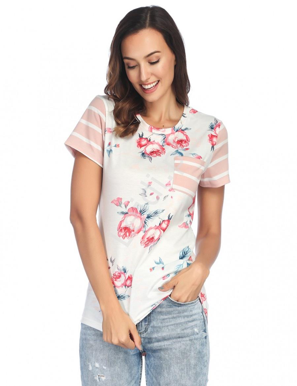 Koszulka damska w kwiaty z paskami na plecach różowo białymi 0066 - Lejdi