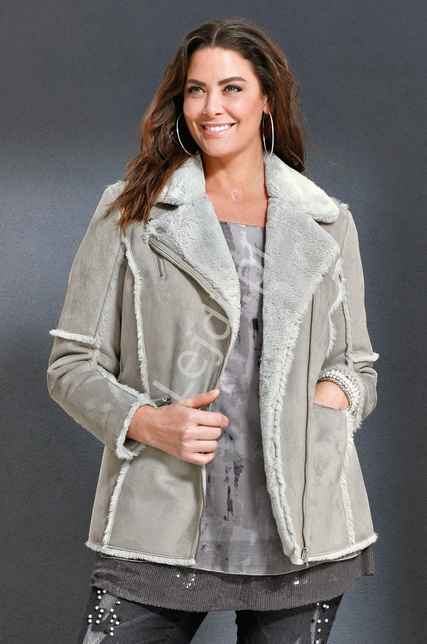 Kożuch imitujący skórę, kurtka w kolorze szarym z sztucznym futrem Mia Moda - Lejdi