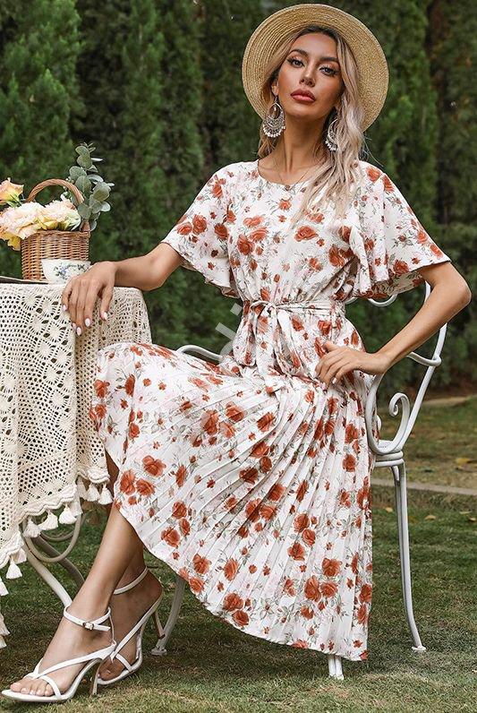 Kremowa sukienka w rude róże 1815 - Lejdi