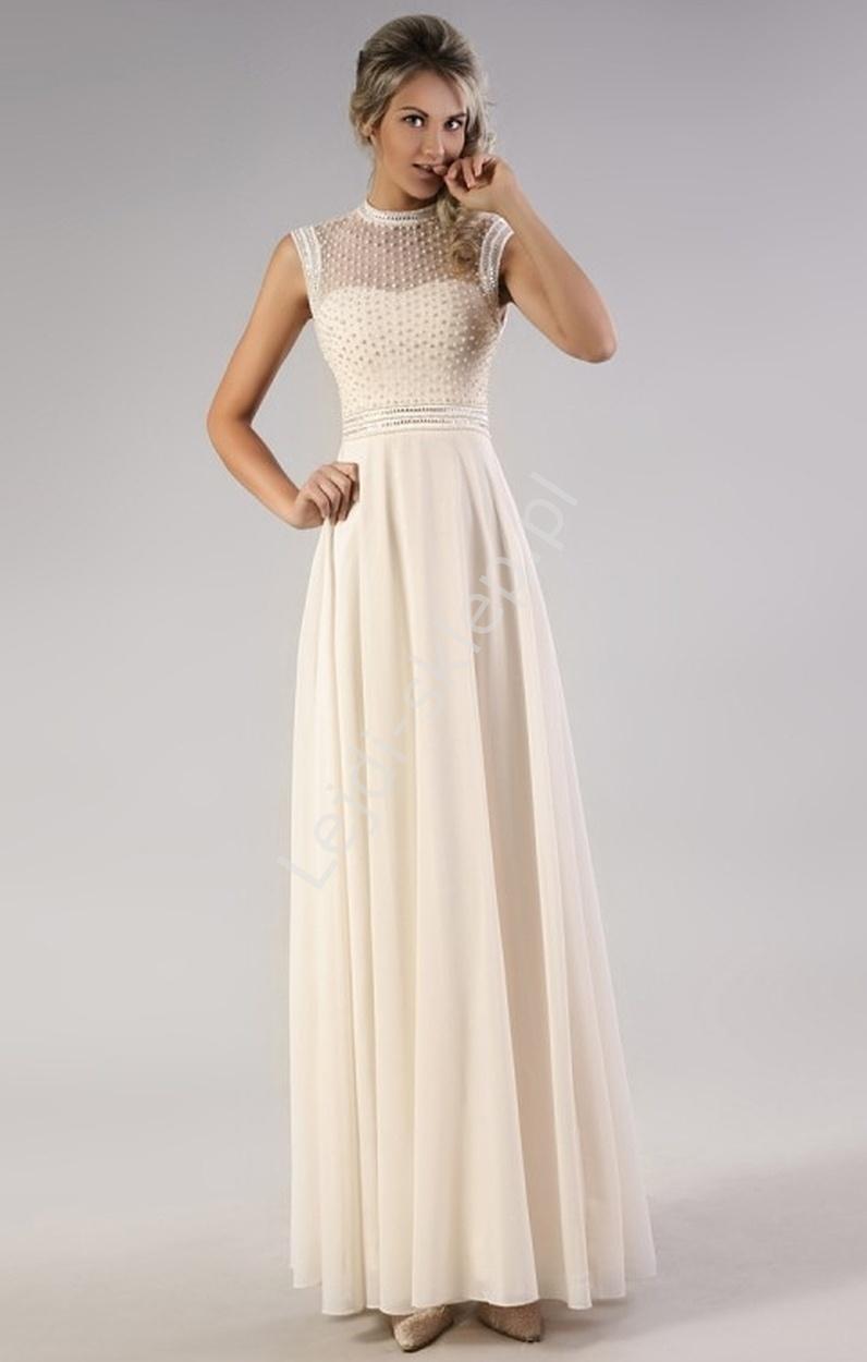 740a1869f3 Kremowa suknia z perełkami wieczorowe - Lejdi.pl