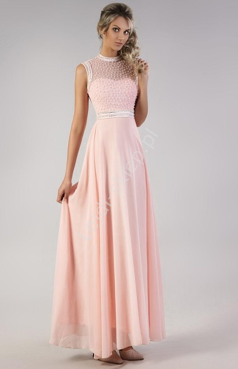 Pastelowo różowa suknia z perełkami | sukienki wieczorowe - Lejdi