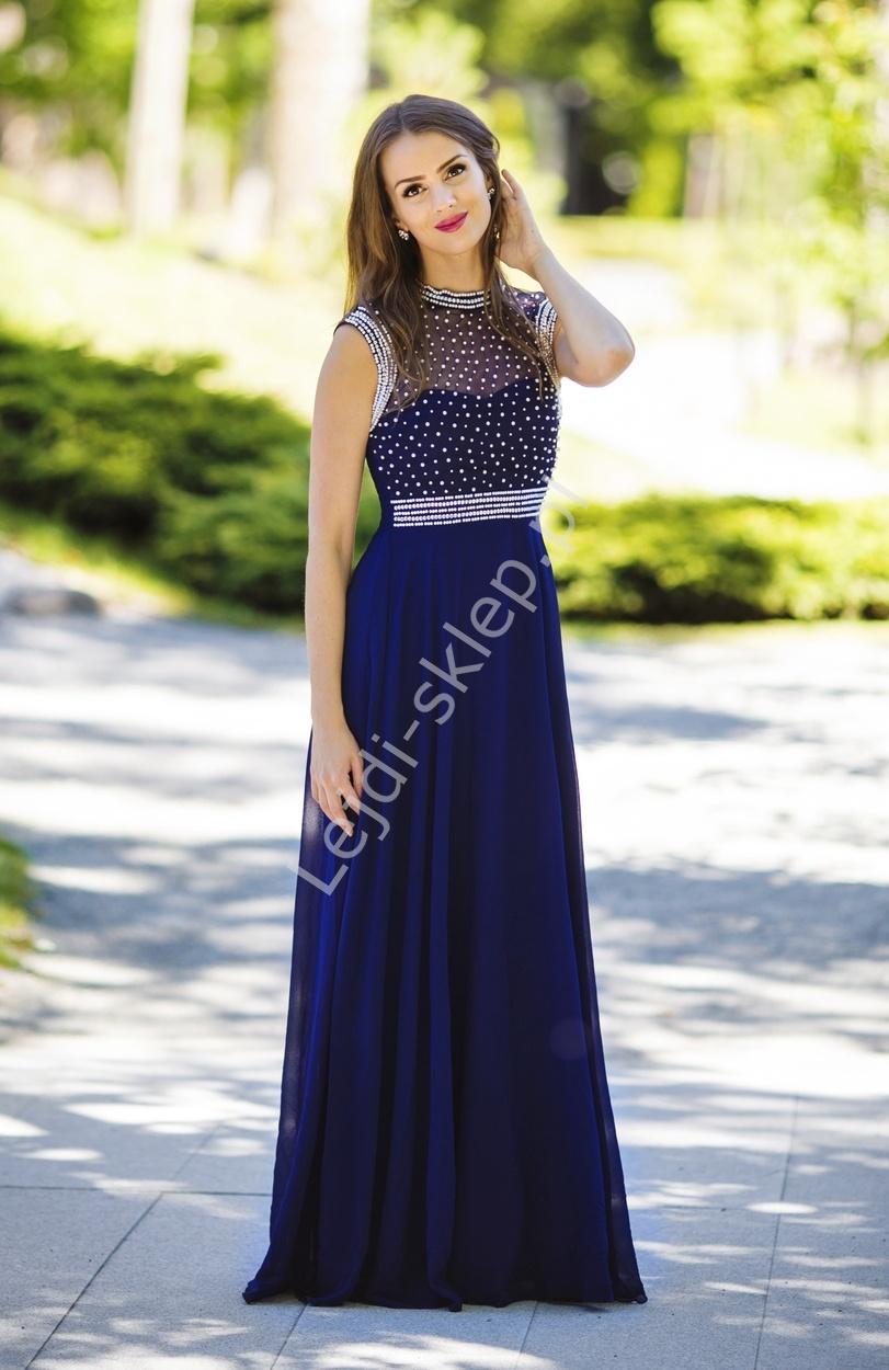 Granatowa suknia z perełkami | sukienki wieczorowe - Lejdi