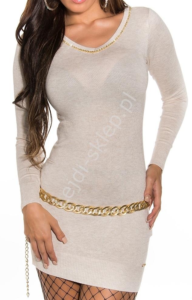 Kremowo beżowa sukienka z cyrkoniami z łezką na plecach 8274 - Lejdi