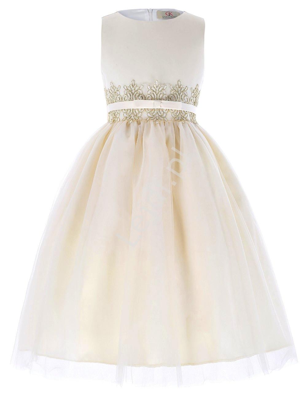 Kremowo brzoskwiniowa sukienka z koronka w pasie | sukienki dla dziewczynek - Lejdi