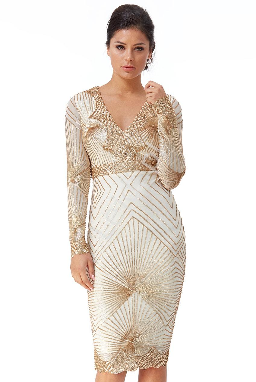 Krótka cekinowa sukienka obcisła w złotym kolorze Goddiva 2617 - Lejdi