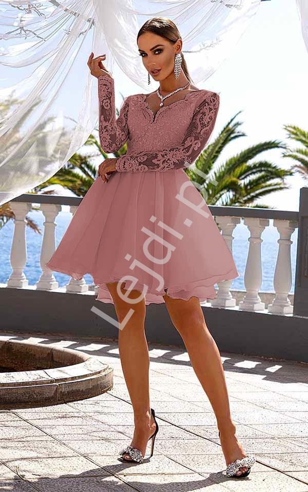 Krótka organzowa sukienka z koronkowym rękawem Karla pustynny róż - Lejdi