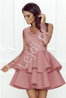 c5a79e86e Krótka rozkloszowana sukienka z falbaną , pustynny róż Lili