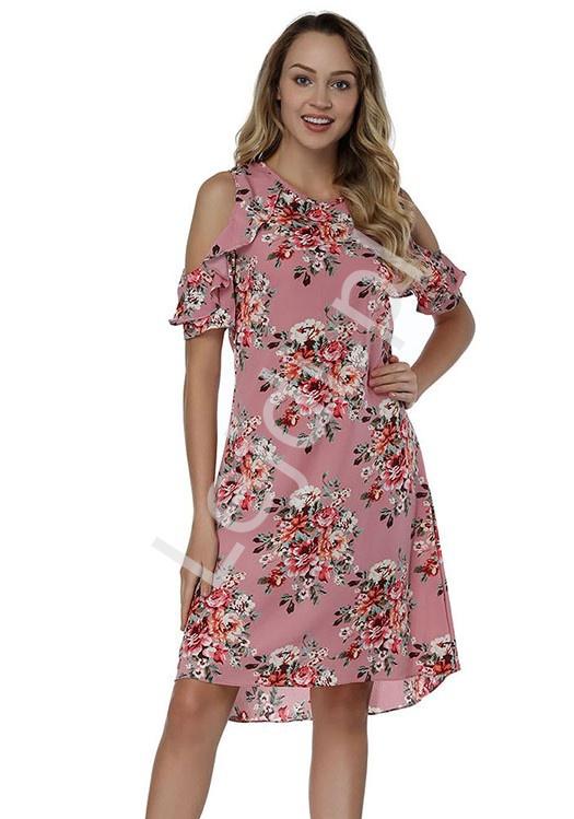 Krótka różowa sukienka w kwiaty z falbanką na ramionach 1929 - Lejdi