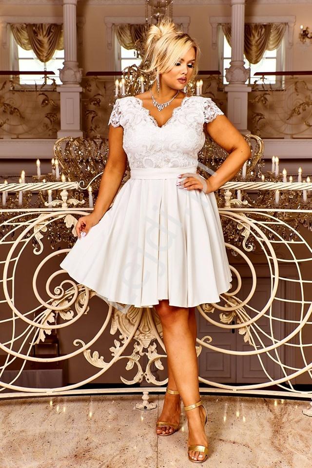 Krótka ślubna sukienka rozkloszowana z halką - Diana 2 - Lejdi