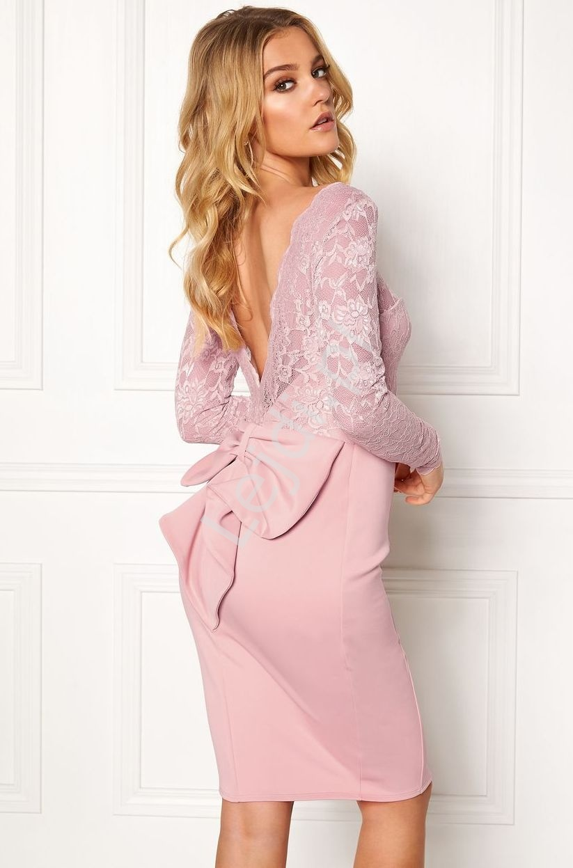Krótka sukienka na wesele, dla druhen z kokardą z tyłu   wieczorowa Goddess - pudrowy róż 987A - Lejdi