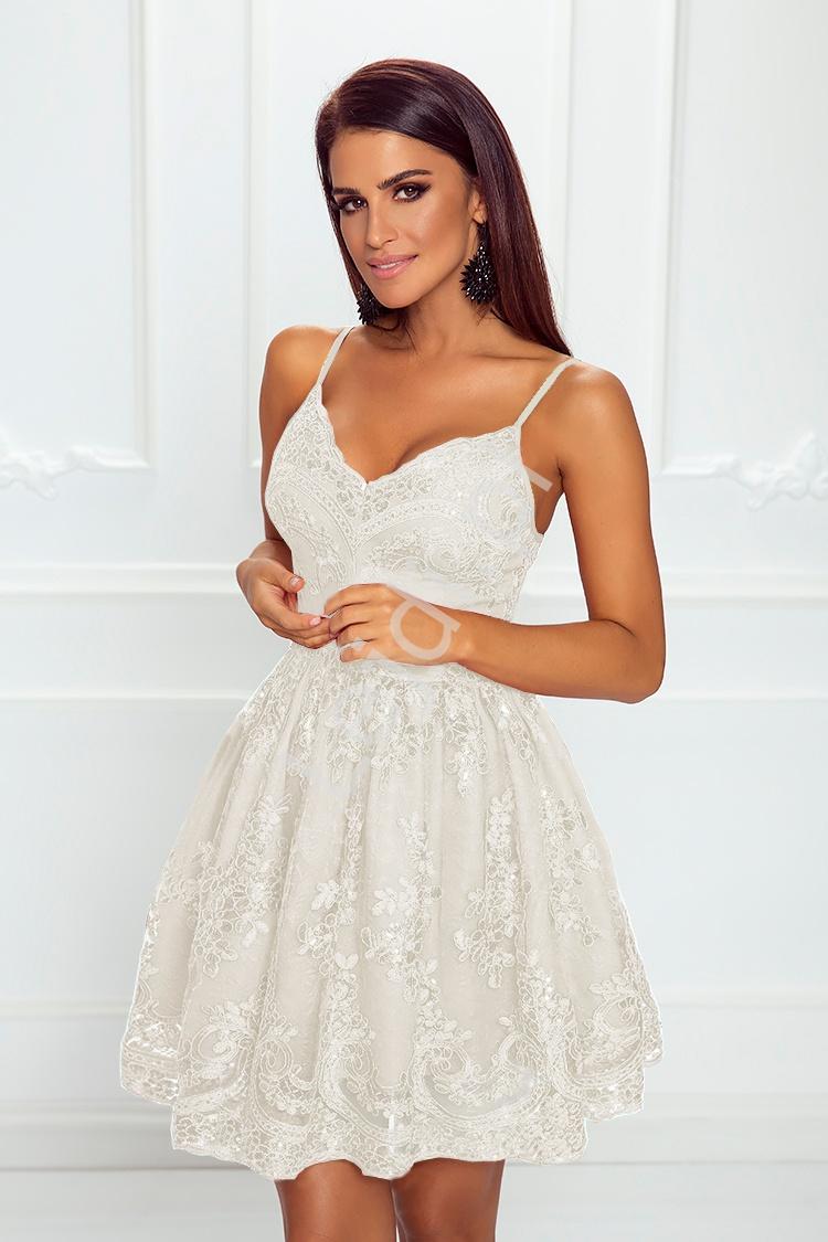 c3eea6edd7 Krótka biała sukienka ślubna koronkowa Viktoria - Lejdi.pl