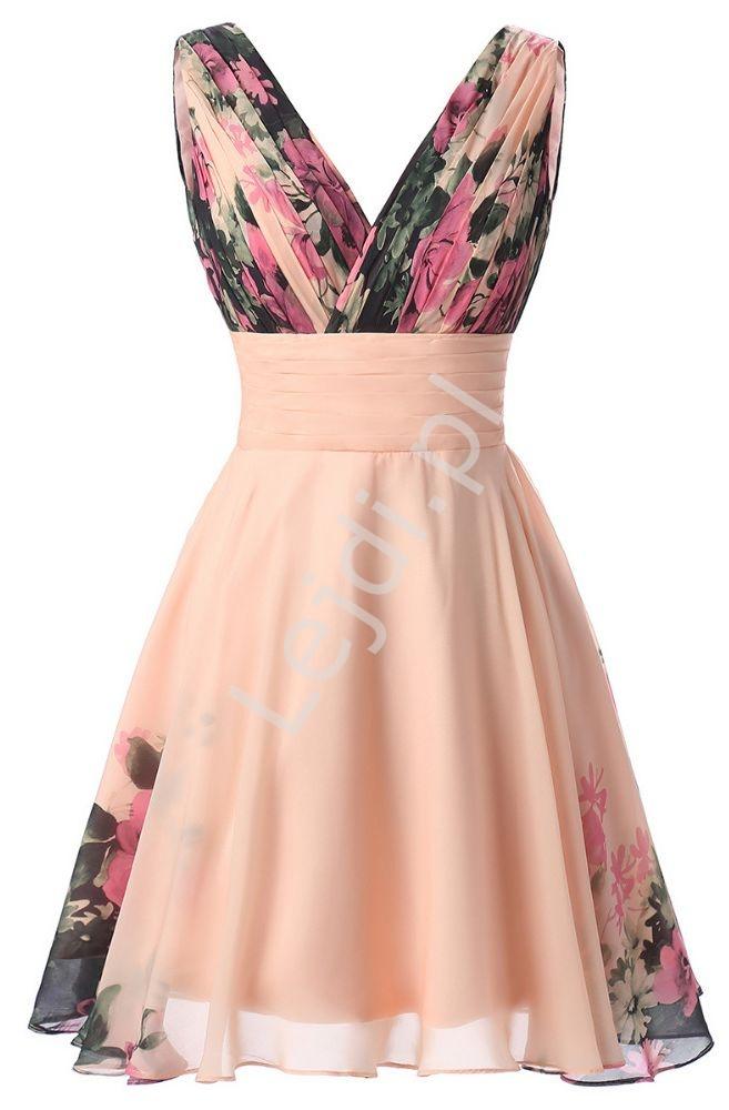 Krótka sukienka w kwiaty koralowo różowa, idealna na wesele, studniowkę, bal - Lejdi