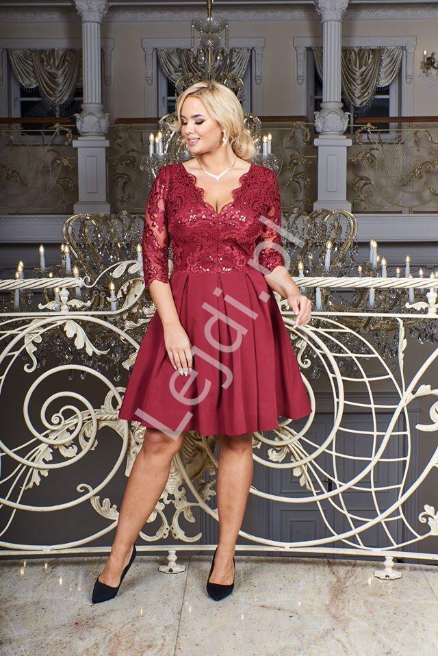 Krótka sukienka wieczorowa z koronki, bordowa - Diana 3/4 - Lejdi