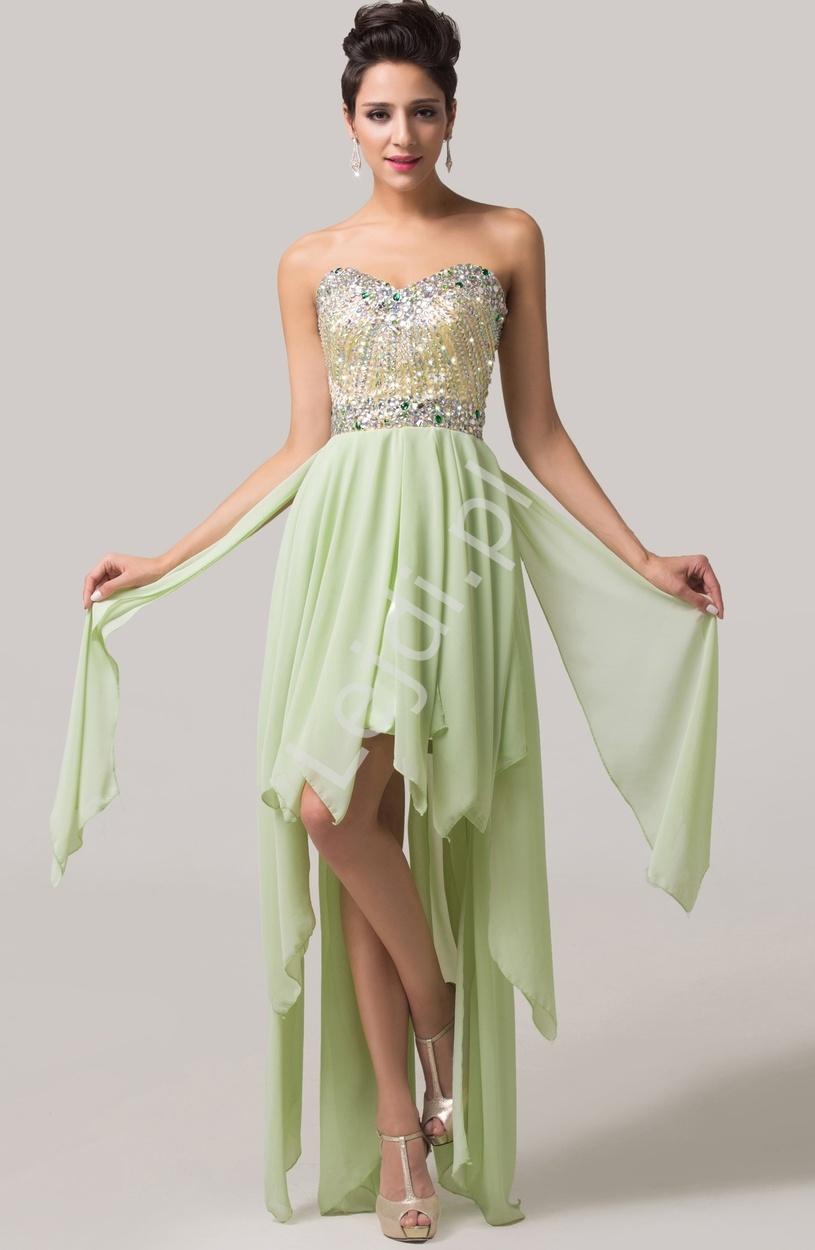 Krótka sukienka z kryształkami, jasny pastelowy zielony - Lejdi