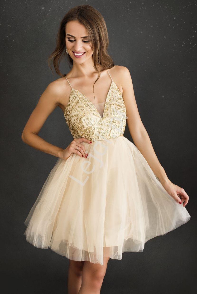 Krótka złota sukienka z brokatem na cienkich ramiączkach 2213 - Lejdi