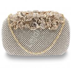 740d53abb794d7 Kryształkowa luksusowa torebka wieczorowa z motywem roślinnym