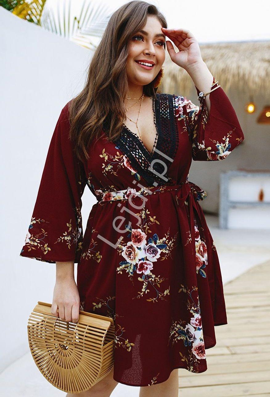 Kwiatowa bordowa sukienka letnia Plus Size 5103 - Lejdi