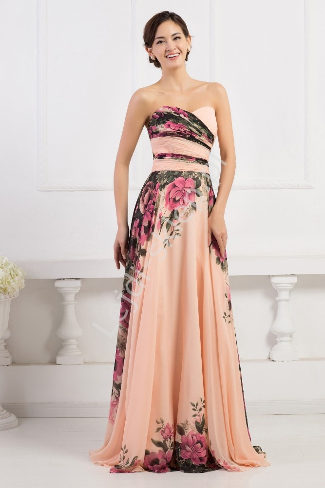 Kwiatowa długa suknia dekolt serduszko | kwiatowa elegancka sukienka na wesele, studniówki - Lejdi