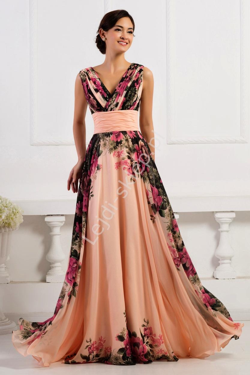 Kwiatowa długa suknia koralowo różowa | kwiatowa elegancka sukienka na wesele, studniówki - Lejdi