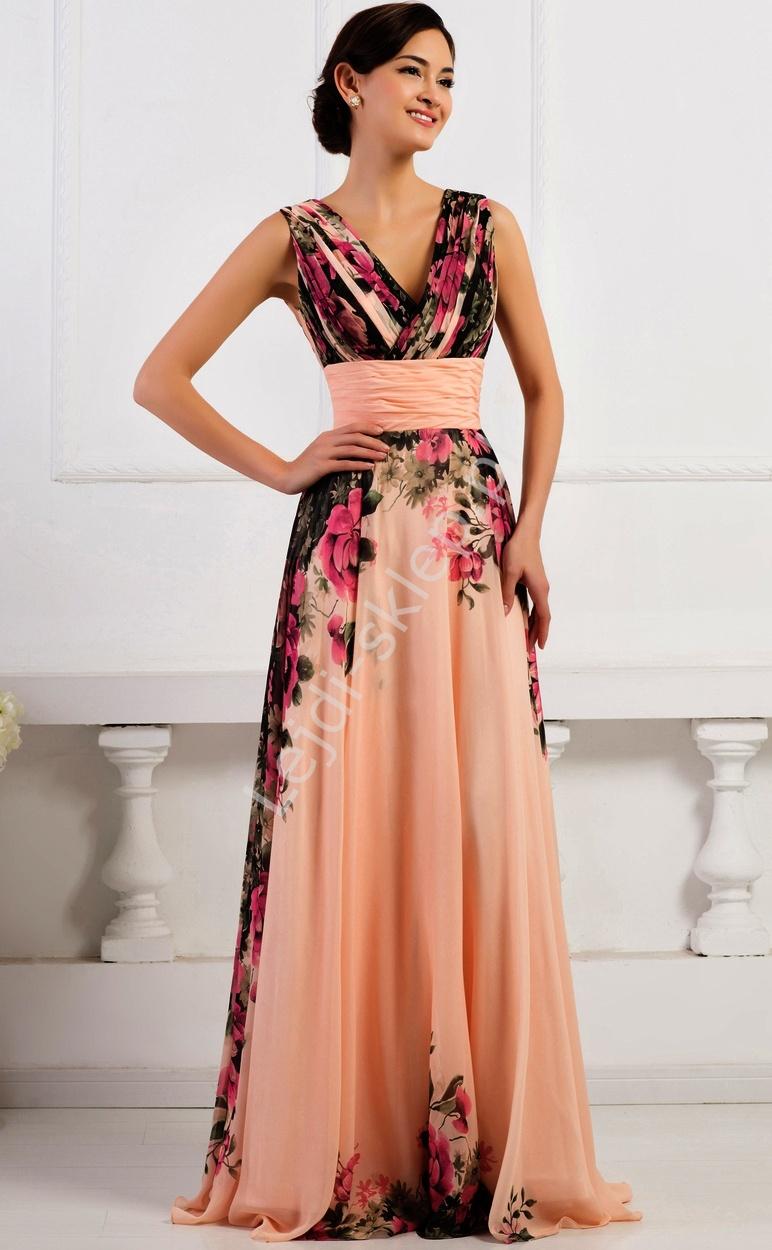 Kwiatowa Długa Suknia Koralowo Różowa Kwiatowa Elegancka Sukienka
