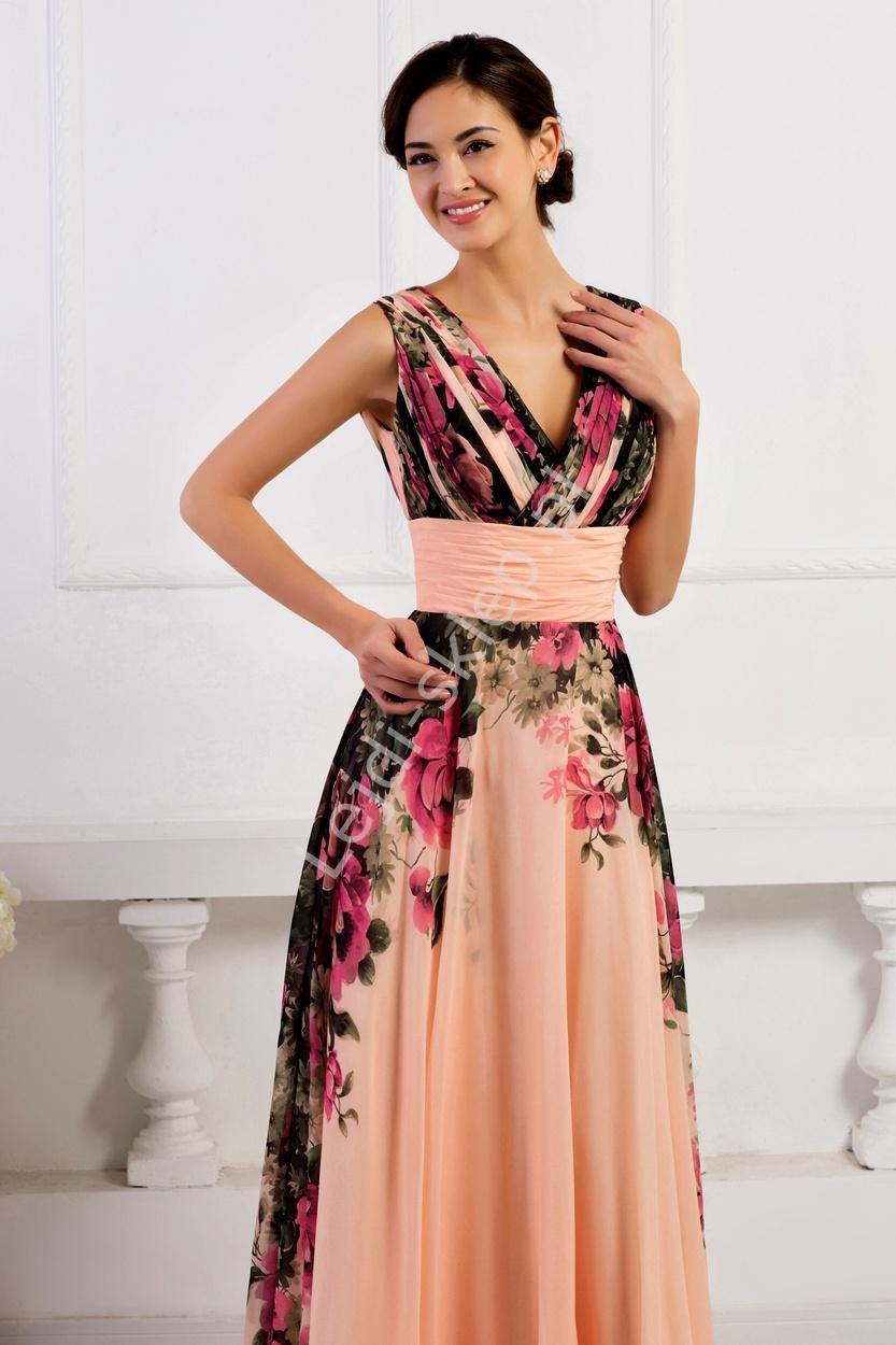 39952a7f96 Sukienka w kwiaty koralowo różowa