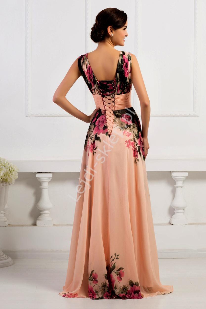 02a465b27e56 Sukienka w kwiaty koralowo różowa