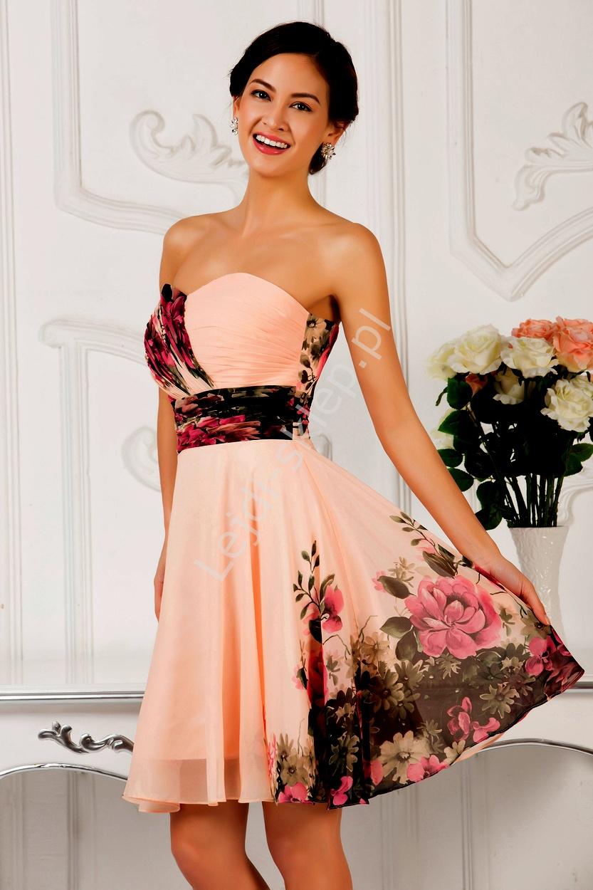 Kwiatowa sukienka dekolt w serduszko  kwiatowe na wesele - Lejdi