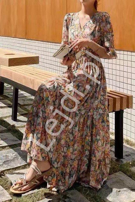 Kwiatowa sukienka letnia z falbaną na rękawie 9358 - Lejdi
