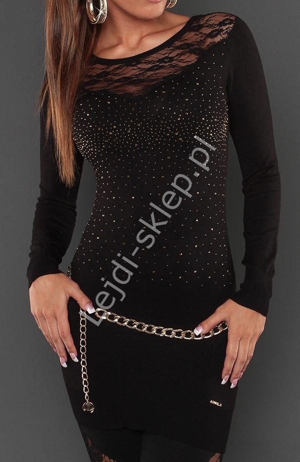 Czarna klasyczna tunika z koronką z licznymi kryształkami, 129200 - Lejdi