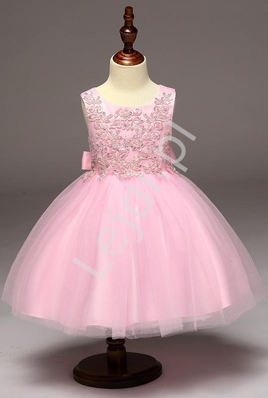 Różowa sukienka z obfitą tiulową spódnicą | sukienki dla dziewczynek - Lejdi